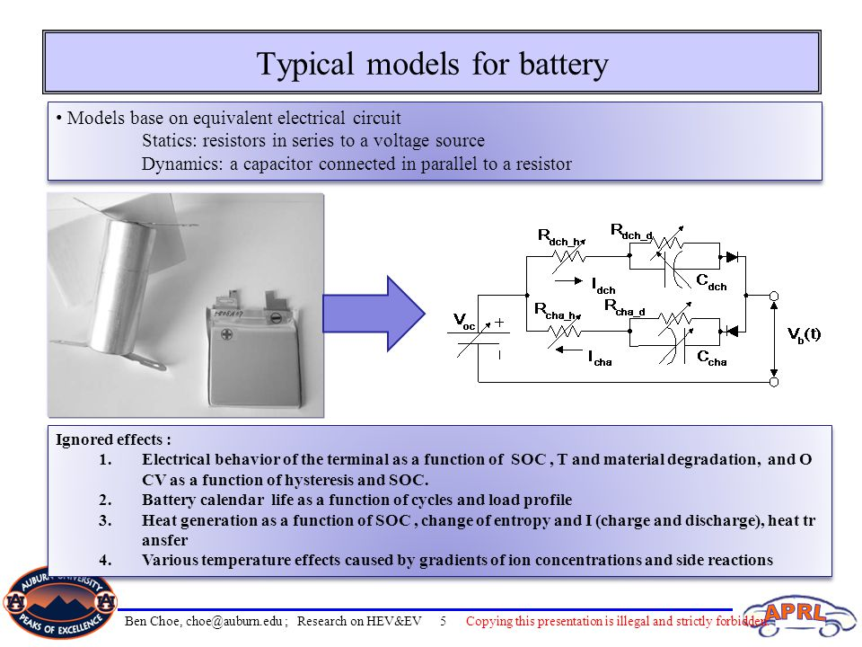 Typical models for battery Models base on equivalent electrical circuit Statics: resistors in series to a voltage source Dynamics: a capacitor connect