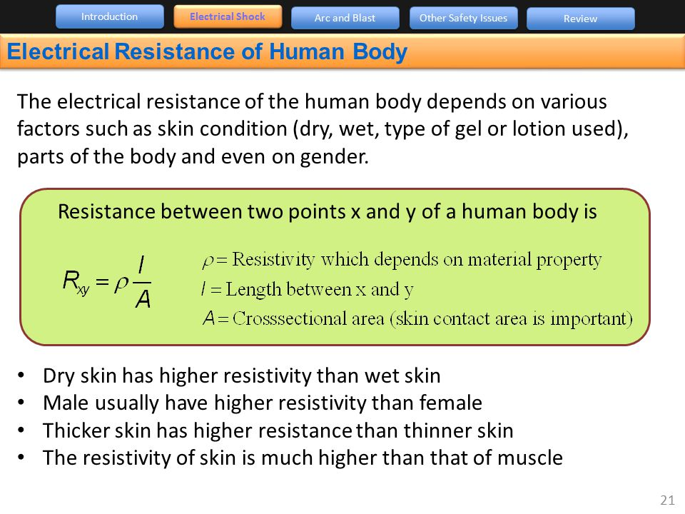 The electrical resistance of the human body depends on various factors such as skin condition (dry, wet, type of gel or lotion used), parts of the bod