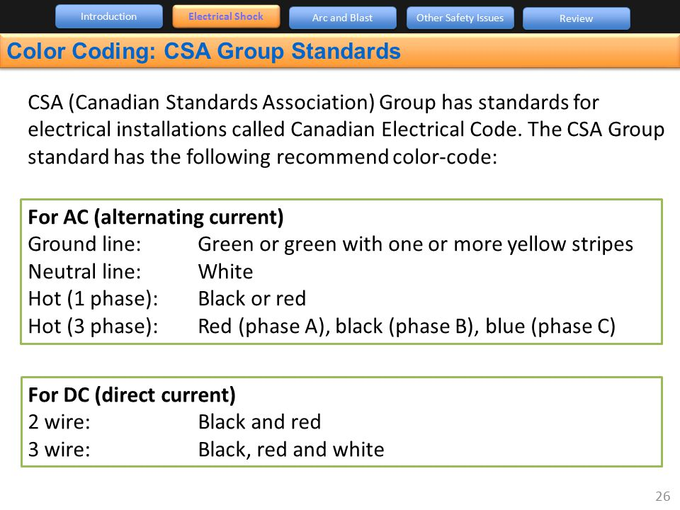 CSA (Canadian Standards Association) Group has standards for electrical installations called Canadian Electrical Code. The CSA Group standard has the