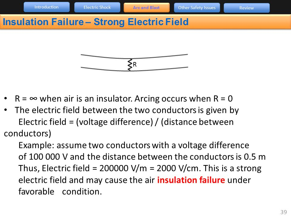 Introduction Arc and Blast Other Safety Issues Review Electric Shock Insulation Failure – Strong Electric Field R R = ∞ when air is an insulator. Arci
