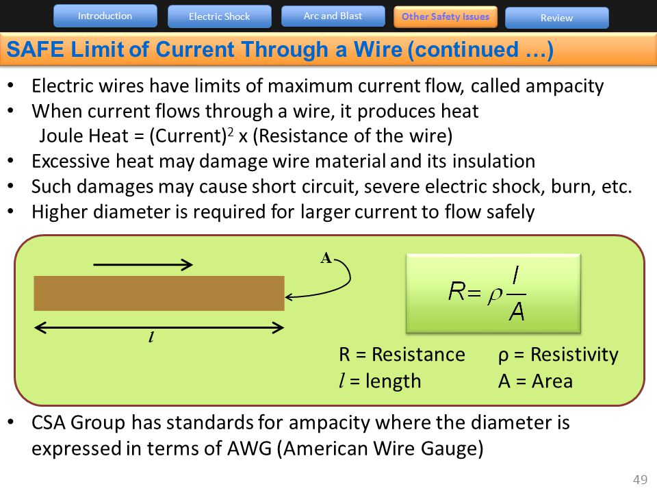Electric wires have limits of maximum current flow, called ampacity When current flows through a wire, it produces heat Joule Heat = (Current) 2 x (Re