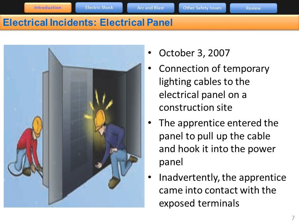 Electrical Incidents: Electrical Panel 7 October 3, 2007 Connection of temporary lighting cables to the electrical panel on a construction site The ap