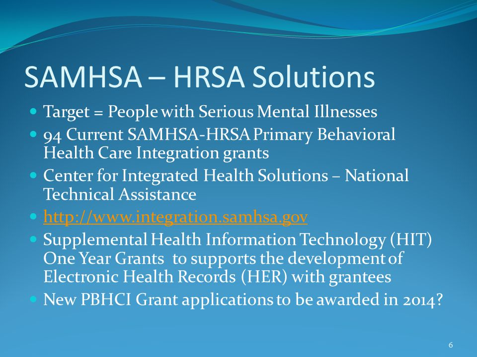 SAMHSA – HRSA Solutions Target = People with Serious Mental Illnesses 94 Current SAMHSA-HRSA Primary Behavioral Health Care Integration grants Center