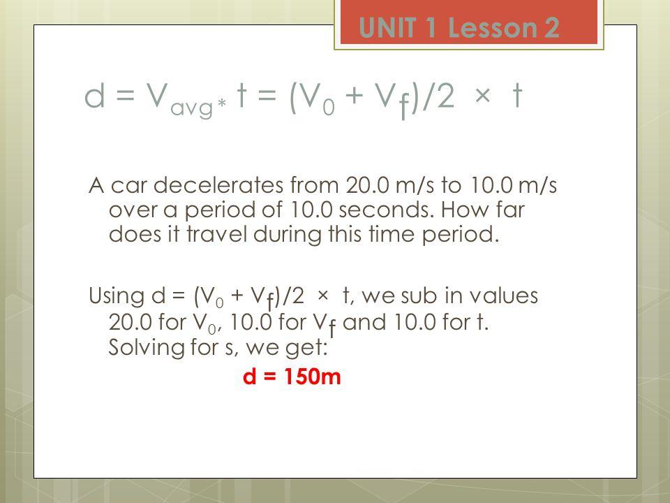 d = V 0 Δt + 0.5 a Δt 2 E.g. A body starts from rest at a uniform acceleration of 3 m/s 2.