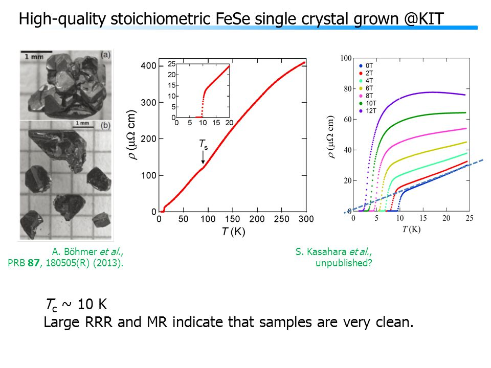 High-quality stoichiometric FeSe single crystal grown @KIT A.