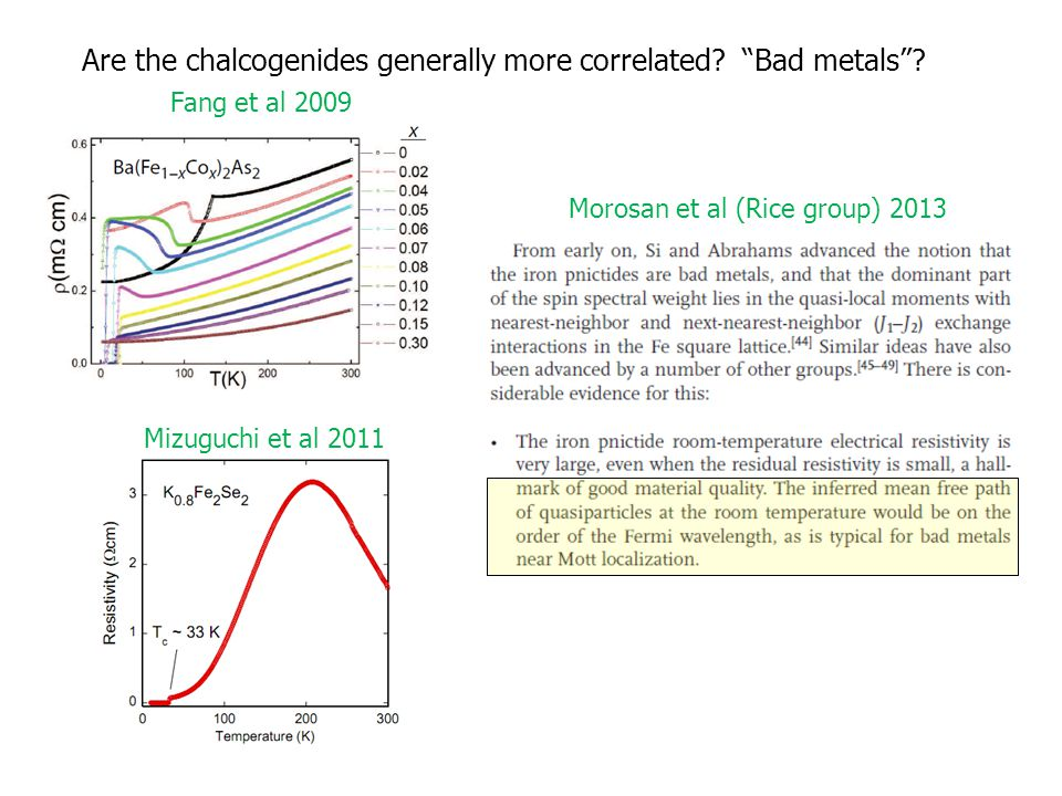 Are the chalcogenides generally more correlated. Bad metals .