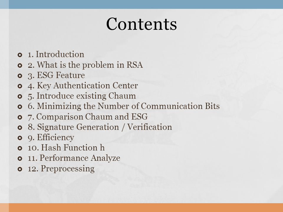  1. Introduction  2. What is the problem in RSA  3.