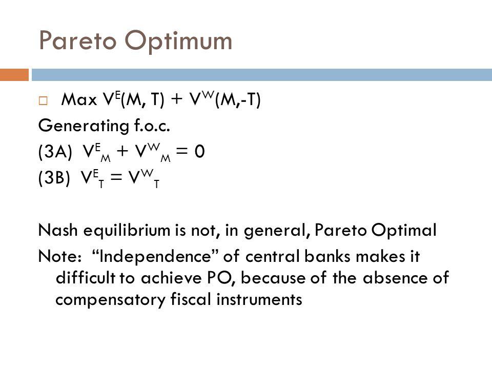 Pareto Optimum  Max V E (M, T) + V W (M,-T) Generating f.o.c.