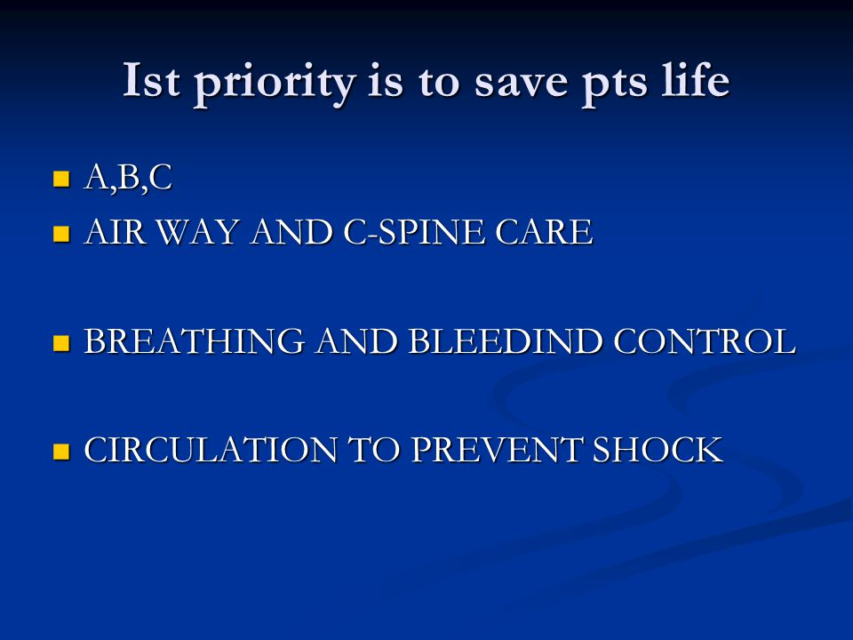 ATLS PROTOCOL FOR FRACTURE MANAGEMENT Advance trauma life support is the most important protocol to save the life of the patients suffering from road traffic accidents Advance trauma life support is the most important protocol to save the life of the patients suffering from road traffic accidents life saving measures life saving measures A-To maintain the air way and cervical spine care A-To maintain the air way and cervical spine care B-Breathing problem is the next priority B-Breathing problem is the next priority C-Circulation to asses the shock and its treatment C-Circulation to asses the shock and its treatment D-Disability of the patient D-Disability of the patient E- Environments E- Environments