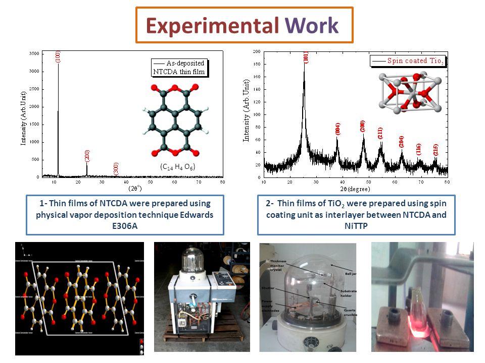 Experimental Work 1- Thin films of NTCDA were prepared using physical vapor deposition technique Edwards E306A 2- Thin films of TiO 2 were prepared us