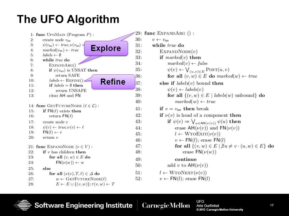 17 UFO Arie Gurfinkel © 2013 Carnegie Mellon University The UFO Algorithm Explore Refine