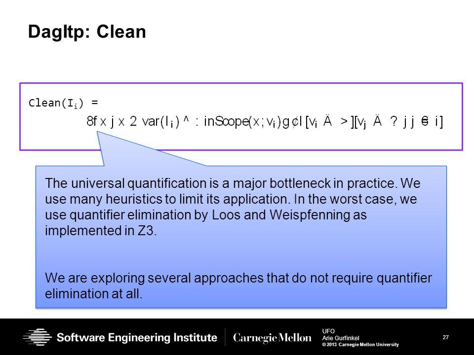27 UFO Arie Gurfinkel © 2013 Carnegie Mellon University DagItp: Clean Clean(I i ) = The universal quantification is a major bottleneck in practice. We