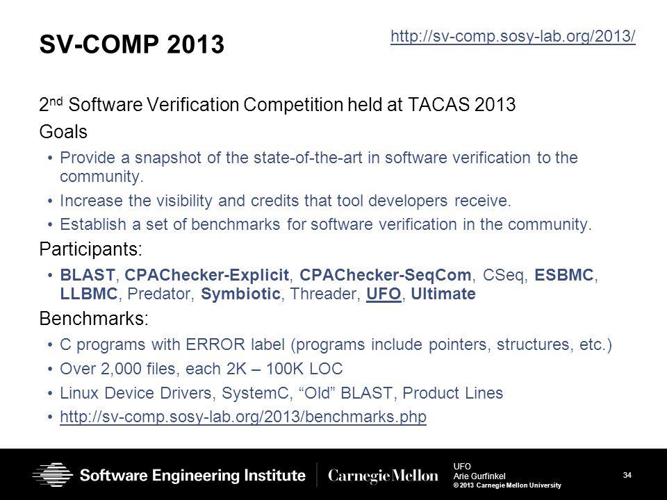 34 UFO Arie Gurfinkel © 2013 Carnegie Mellon University SV-COMP 2013 2 nd Software Verification Competition held at TACAS 2013 Goals Provide a snapsho