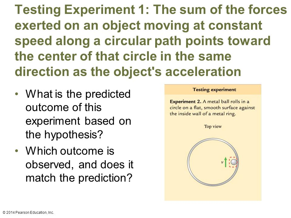 Testing Experiment 1: The sum of the forces exerted on an object moving at constant speed along a circular path points toward the center of that circle in the same direction as the object s acceleration What is the predicted outcome of this experiment based on the hypothesis.