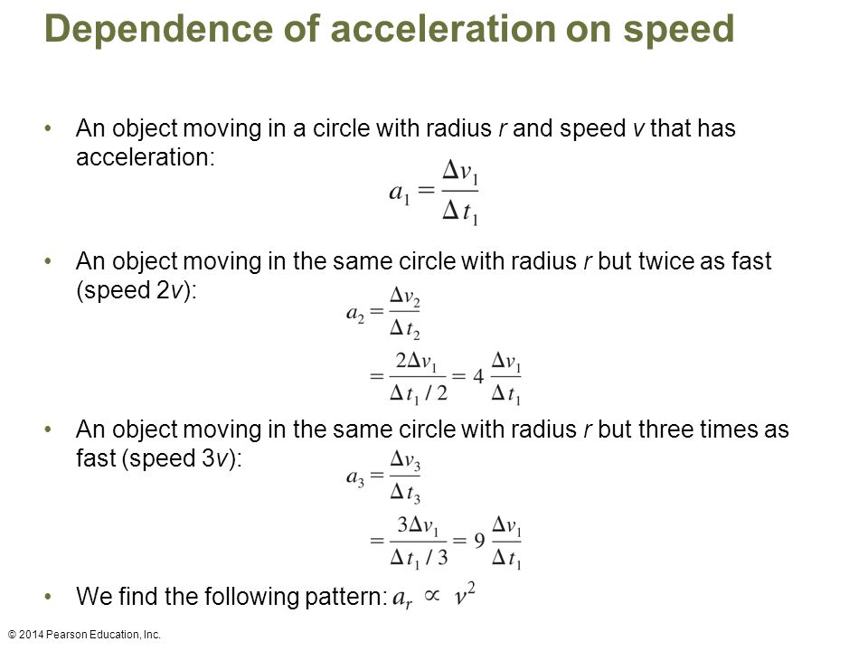 Dependence of acceleration on speed An object moving in a circle with radius r and speed v that has acceleration: An object moving in the same circle with radius r but twice as fast (speed 2v): An object moving in the same circle with radius r but three times as fast (speed 3v): We find the following pattern: © 2014 Pearson Education, Inc.