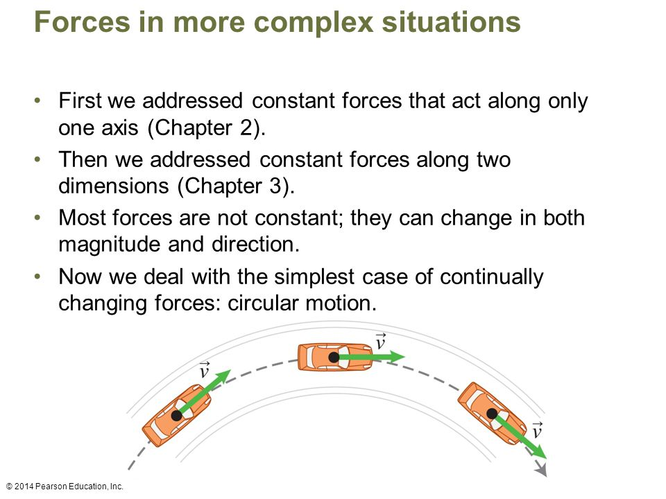 Forces in more complex situations First we addressed constant forces that act along only one axis (Chapter 2). Then we addressed constant forces along