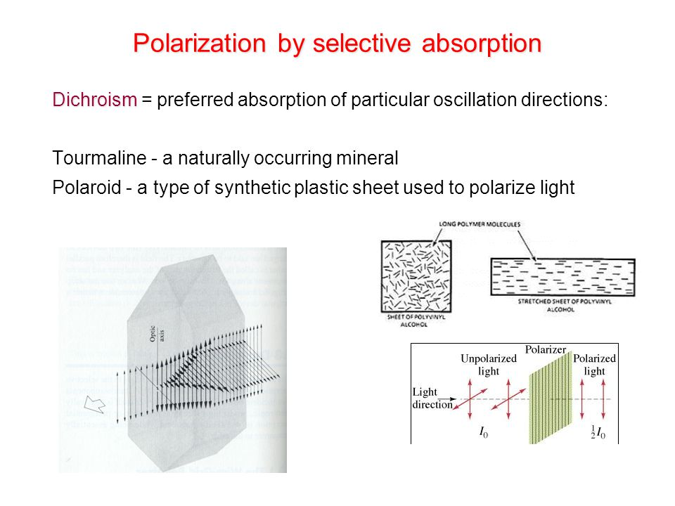 Polarization by selective absorption Dichroism Dichroism = preferred absorption of particular oscillation directions: Tourmaline - a naturally occurri