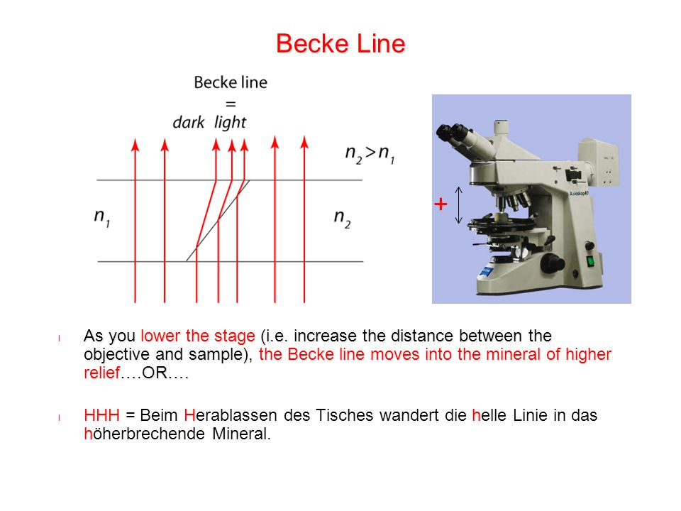 Becke Line l As you lower the stage (i.e. increase the distance between the objective and sample), the Becke line moves into the mineral of higher rel