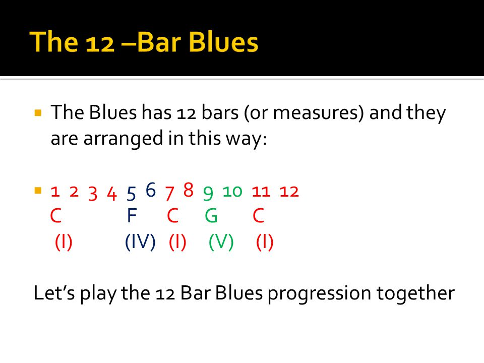  The Blues has 12 bars (or measures) and they are arranged in this way:  1 2 3 4 5 6 7 8 9 10 11 12 C F C G C (I) (IV) (I) (V) (I) Let's play the 12