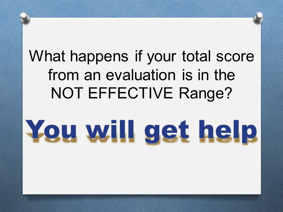 What happens if your total score from an evaluation is in the NOT EFFECTIVE Range