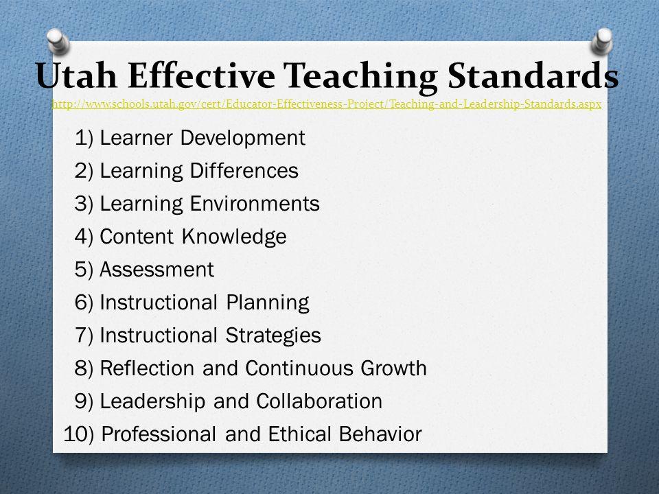 Utah Effective Teaching Standards http://www.schools.utah.gov/cert/Educator-Effectiveness-Project/Teaching-and-Leadership-Standards.aspx http://www.sc