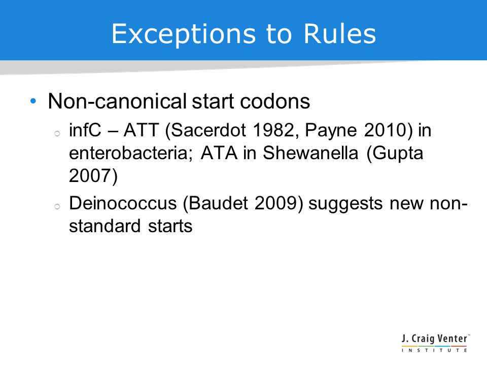 Exceptions to Rules Non-canonical start codons  infC – ATT (Sacerdot 1982, Payne 2010) in enterobacteria; ATA in Shewanella (Gupta 2007)  Deinococcus (Baudet 2009) suggests new non- standard starts