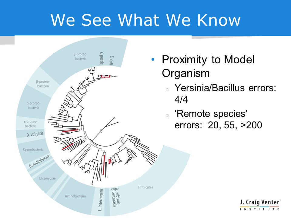 We See What We Know Proximity to Model Organism  Yersinia/Bacillus errors: 4/4  'Remote species' errors: 20, 55, >200