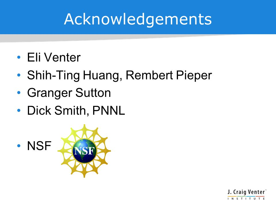 Acknowledgements Eli Venter Shih-Ting Huang, Rembert Pieper Granger Sutton Dick Smith, PNNL NSF