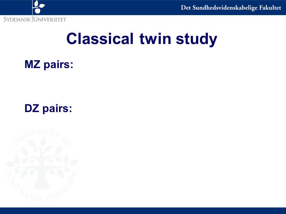 Classical twin study MZ pairs: DZ pairs: