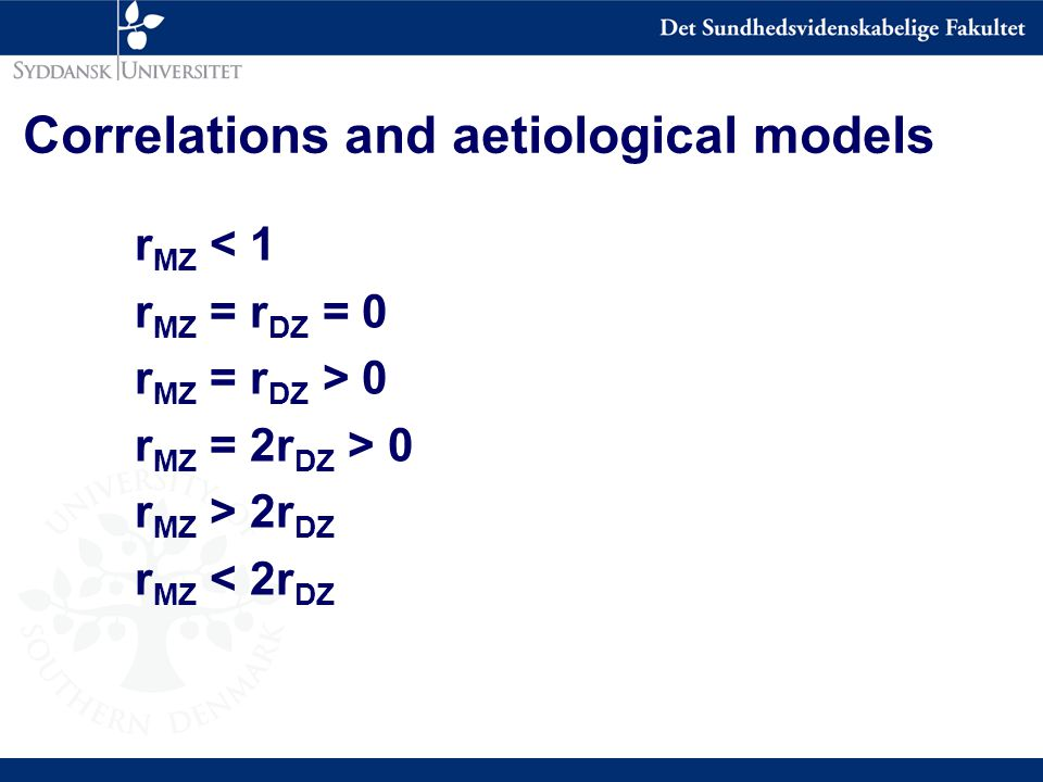 Correlations and aetiological models r MZ < 1 r MZ = r DZ = 0 r MZ = r DZ > 0 r MZ = 2r DZ > 0 r MZ > 2r DZ r MZ < 2r DZ