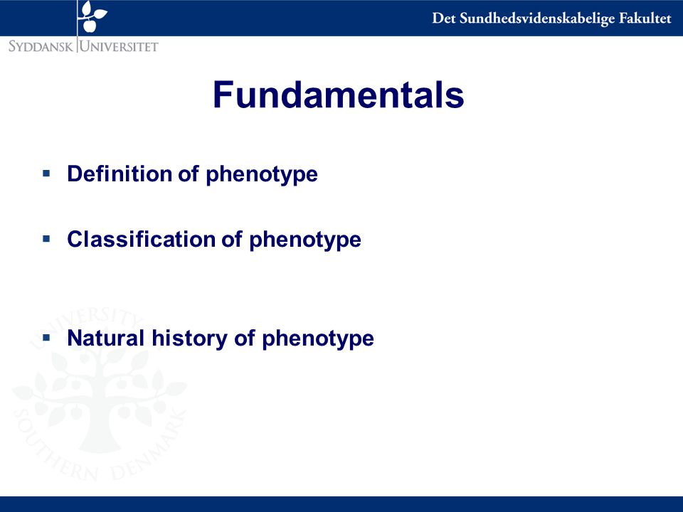 Fundamentals  Definition of phenotype  Classification of phenotype  Natural history of phenotype