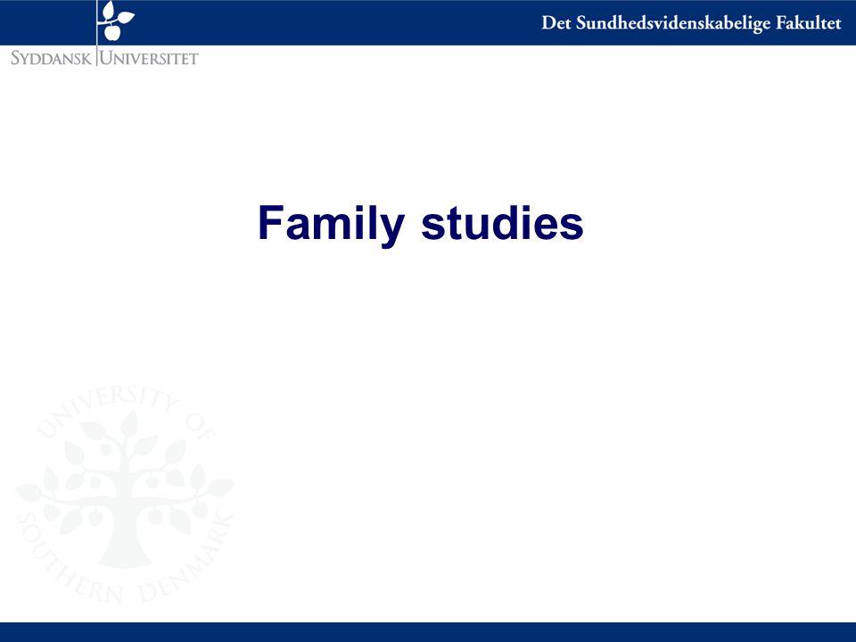 Comparison of correlations Correlation Twin studies MZ DZ MZA 0.7 0.36 0.7 Family studies PO Sib 0.27 0.25 Adoption studies Bio Ado 0.17 0.1