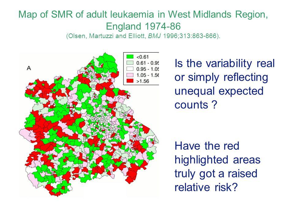 Map of SMR of adult leukaemia in West Midlands Region, England 1974-86 (Olsen, Martuzzi and Elliott, BMJ 1996;313:863-866).