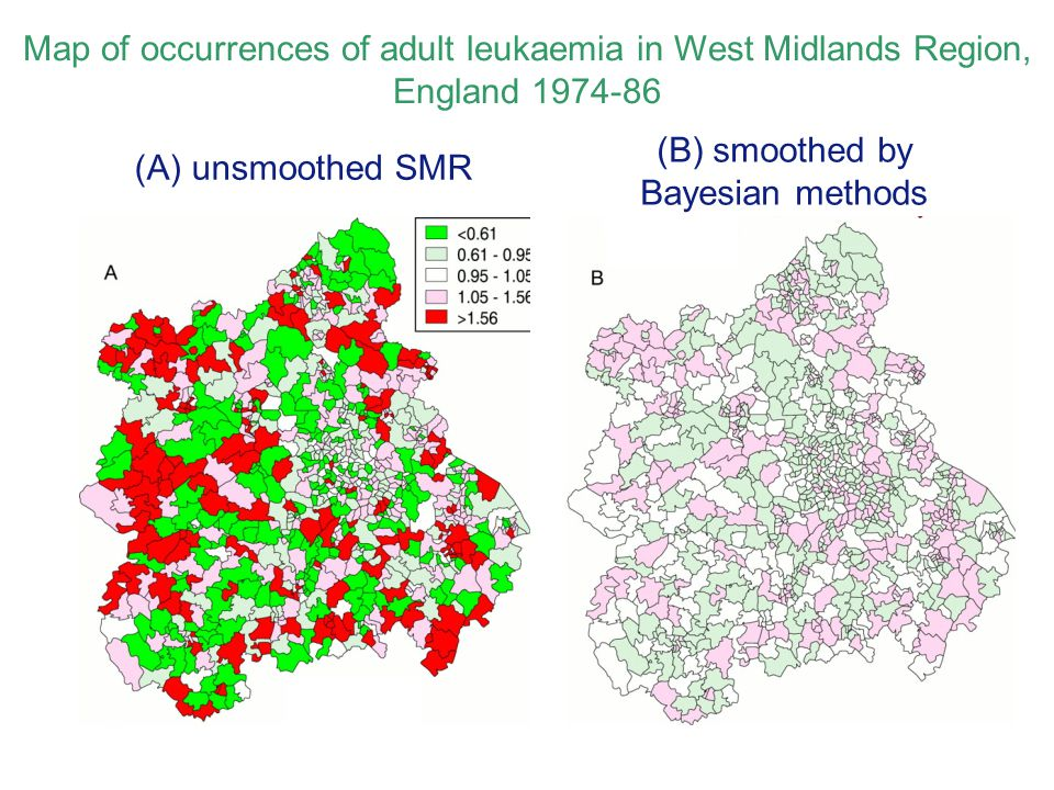 Map of occurrences of adult leukaemia in West Midlands Region, England 1974-86 (Olsen, Martuzzi and Elliott, BMJ 1996;313:863-866) (A) unsmoothed SMR (B) smoothed by Bayesian methods