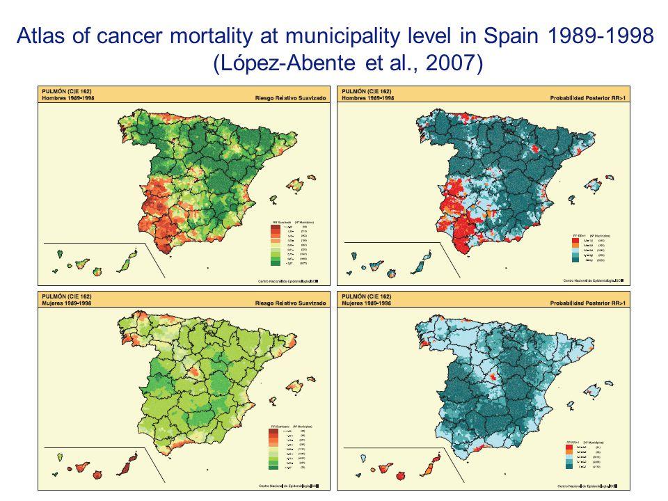 Atlas of cancer mortality at municipality level in Spain 1989-1998 (López-Abente et al., 2007)