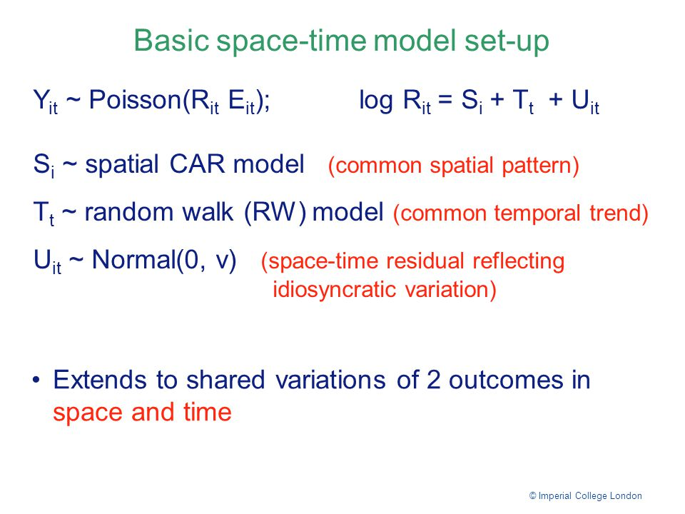 Basic space-time model set-up © Imperial College London Y it ~ Poisson(R it E it ); log R it = S i + T t + U it S i ~ spatial CAR model (common spatial pattern) T t ~ random walk (RW) model (common temporal trend) U it ~ Normal(0, v) (space-time residual reflecting idiosyncratic variation) Extends to shared variations of 2 outcomes in space and time