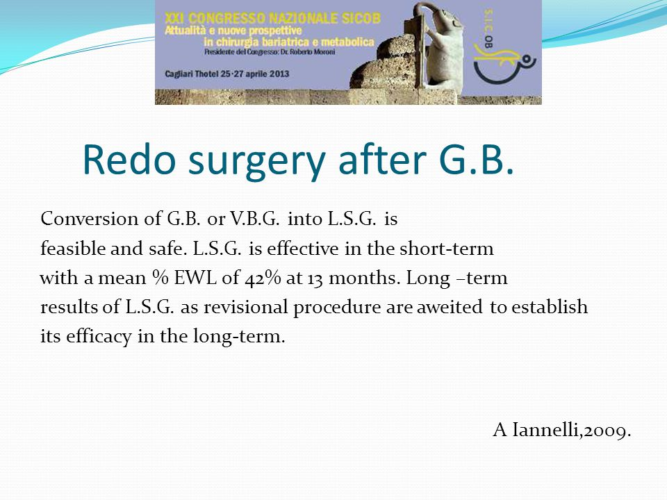 Redo surgery after G.B.Conversion of G.B. or V.B.G.