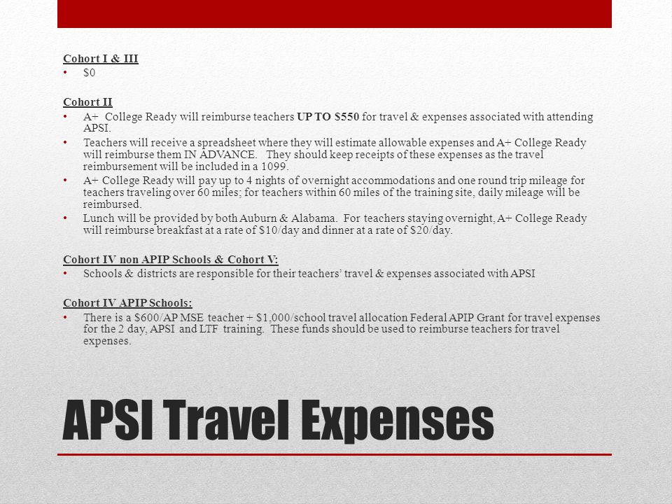 APSI Travel Expenses Cohort I & III $0 Cohort II A+ College Ready will reimburse teachers UP TO $550 for travel & expenses associated with attending APSI.