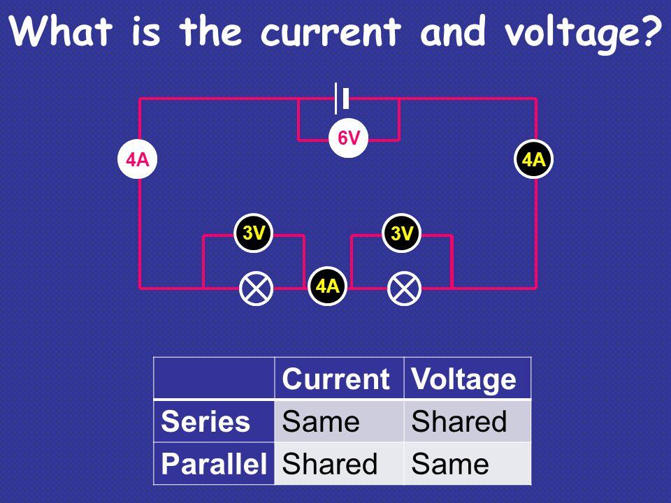 V V 6V 4A A A 3V 6V 4A CurrentVoltage SeriesSameShared ParallelSharedSame What is the current and voltage?