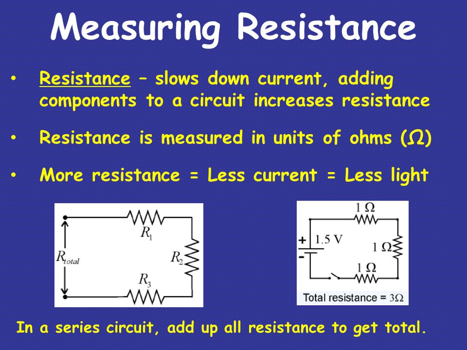 Measuring Resistance Resistance – slows down current, adding components to a circuit increases resistance Resistance is measured in units of ohms (Ω)