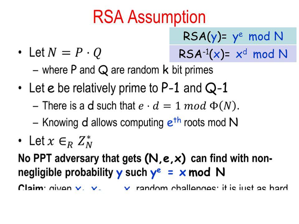 RSA Assumption RSA -1 (x)= x d mod N RSA(y)= y e mod N