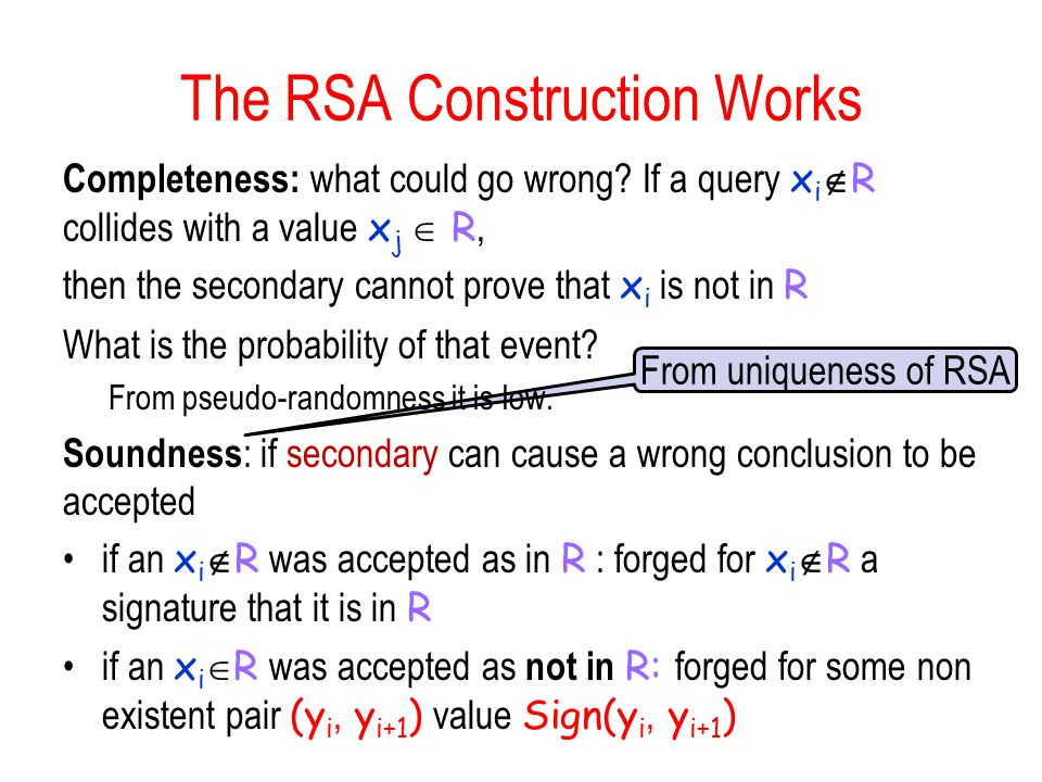 From uniqueness of RSA The RSA Construction Works Completeness: what could go wrong.
