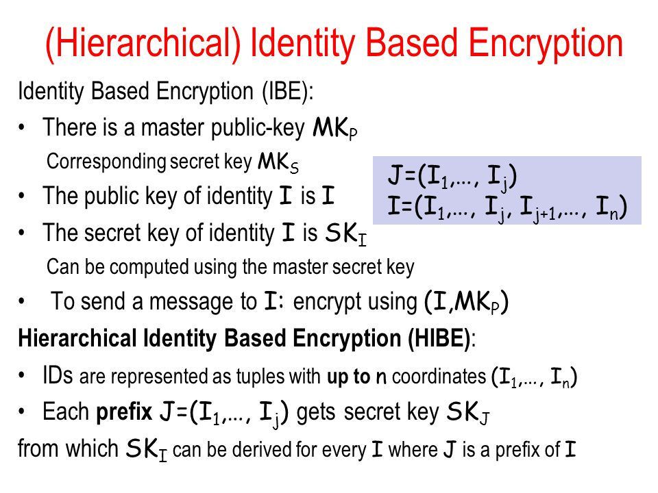 (Hierarchical) Identity Based Encryption Identity Based Encryption (IBE): There is a master public-key MK P Corresponding secret key MK S The public key of identity I is I The secret key of identity I is SK I Can be computed using the master secret key To send a message to I: encrypt using (I,MK P ) Hierarchical Identity Based Encryption (HIBE) : IDs are represented as tuples with up to n coordinates (I 1,…, I n ) Each prefix J=(I 1,…, I j ) gets secret key SK J from which SK I can be derived for every I where J is a prefix of I J=(I 1,…, I j ) I=(I 1,…, I j, I j+1,…, I n )