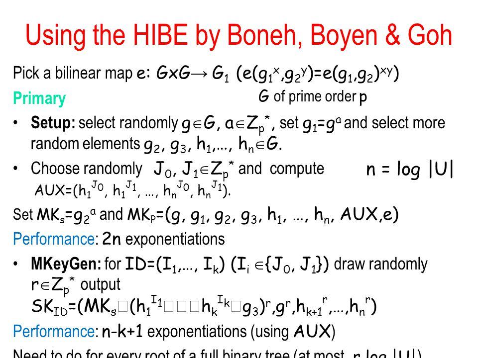 Using the HIBE by Boneh, Boyen & Goh Pick a bilinear map e: GxG → G 1 (e(g 1 x,g 2 y )=e(g 1,g 2 ) xy ) Primary Setup: select randomly g  G, a  Z p