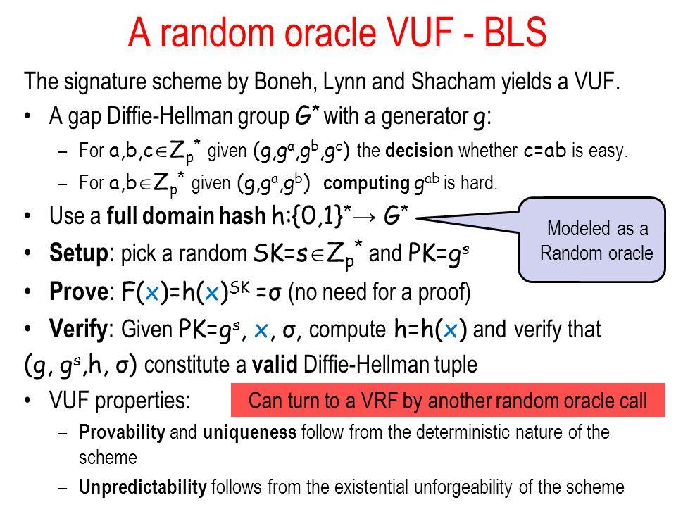 A random oracle VUF - BLS The signature scheme by Boneh, Lynn and Shacham yields a VUF. A gap Diffie-Hellman group G * with a generator g : –For a,b,c