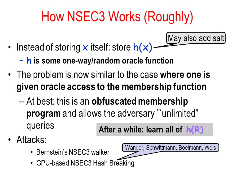 How NSEC3 Works (Roughly) Instead of storing x itself: store h(x) –h is some one-way/random oracle function The problem is now similar to the case where one is given oracle access to the membership function –At best: this is an obfuscated membership program and allows the adversary ``unlimited queries Attacks: Bernstein's NSEC3 walker GPU-based NSEC3 Hash Breaking May also add salt Wander, Schwittmann, Boelmann, Weis After a while: learn all of h(R)