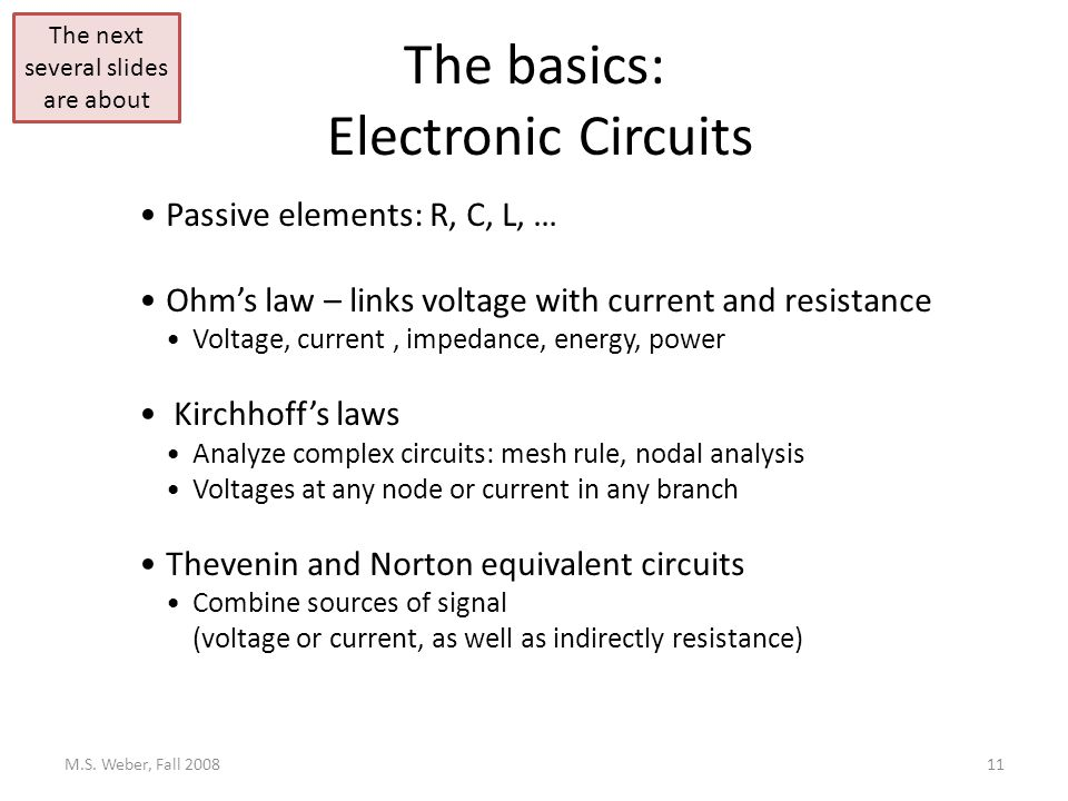 The basics: Electronic Circuits M.S.