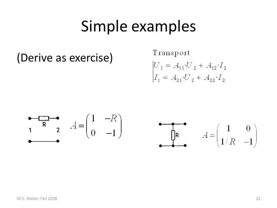 Simple examples (Derive as exercise) M.S. Weber, Fall 200822