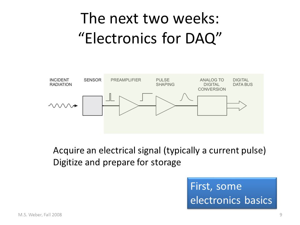 The next two weeks: Electronics for DAQ M.S.