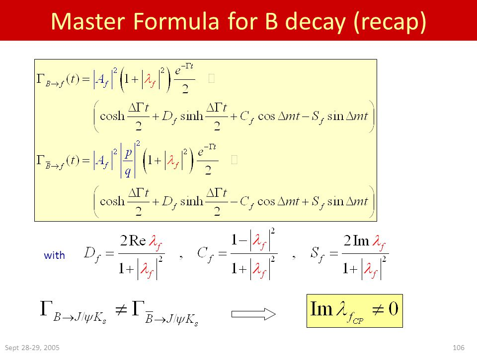 Sept 28-29, Master Formula for B decay (recap) with